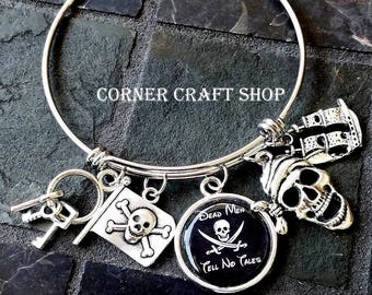 Disney Pirates of the Caribbean Ride Inspired BANGLE CHARM  Stackable BRACELET Flag Ship Jolly Roger Dead Men tell No Tales Charm