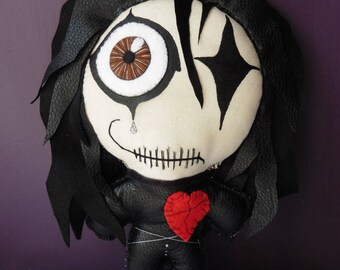 The Crow Masked Avenger Gothic Doll, Eric Draven, Voodoo Doll, Halloween, Raven, Ghost, Undead, Valentine, Art Doll, OOAK, Freak, Angel