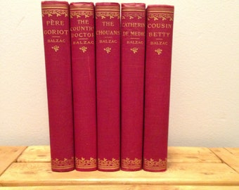 Honore de Balzac 5 Volume Matching Hardcover Book Set - Pere Goriot, The Country Doctor, Catherine de Medici, Cousin Betty & More