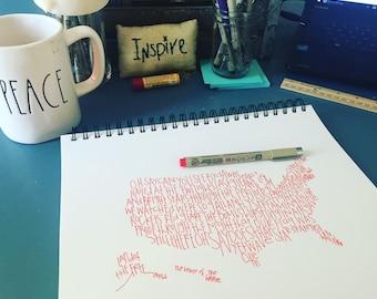 Typography Print. Handwritten. Art. United states Art. map art. Star spangled banner art. 8.5 X 11. United States artwork.
