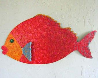 Metal Wall Art Fish Sculpture Tropical Grouper Island beach House Coastal Wall Decor Red Orange Yellow Sea Life Bathroom Art 11 x 20
