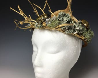 Woodland Nymph Crown Fairy Crown Earth Goddess Hercules Beetles Deer Antler and Crystals