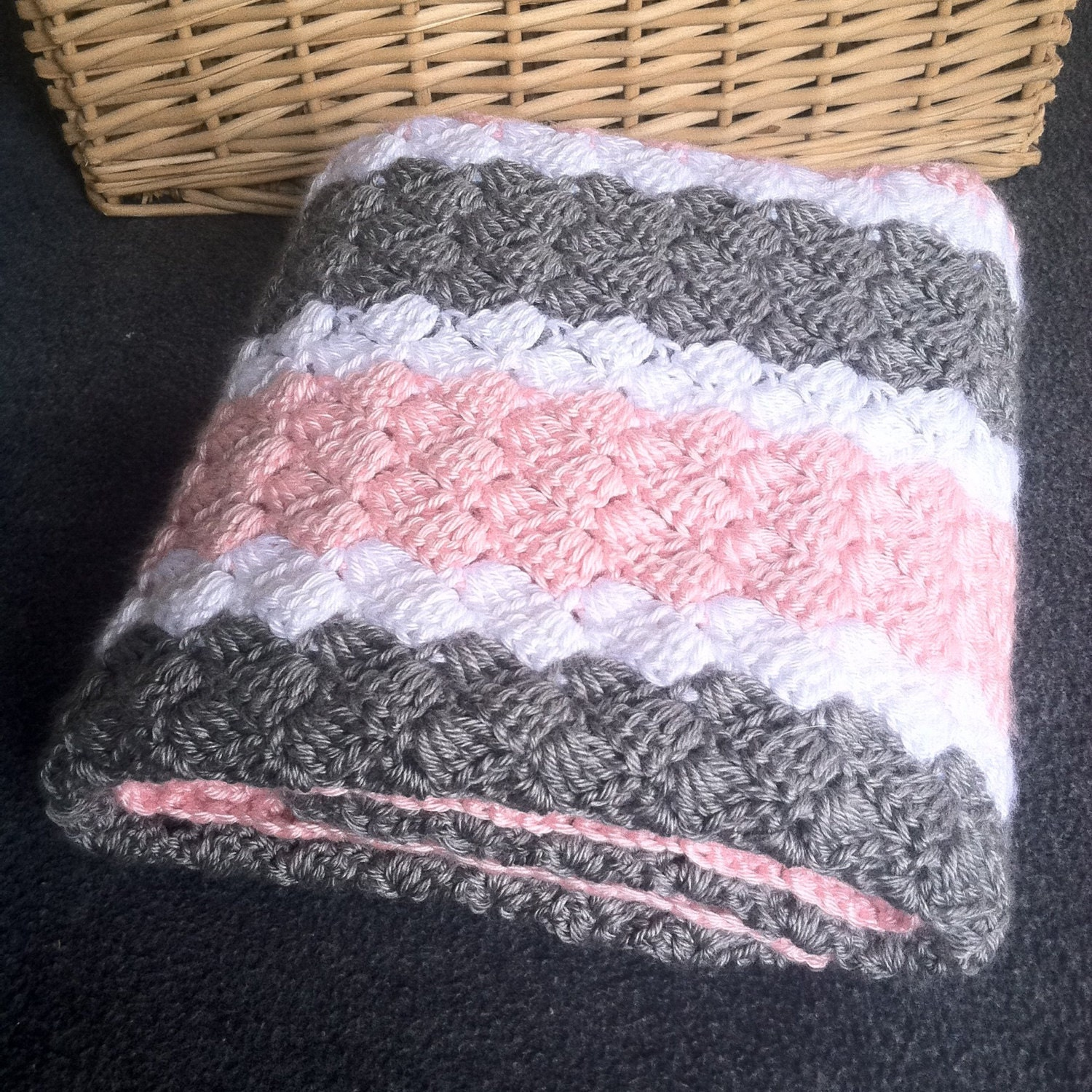 Crochet girl baby blanket hand made pink grey and white zoom bankloansurffo Choice Image