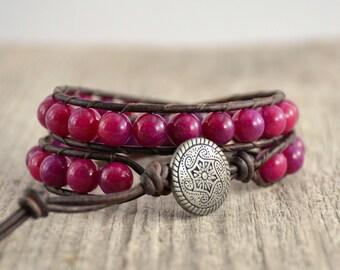 Purple wrap bracelet. Beaded stack bracelet. Rustic leather wrap bracelet