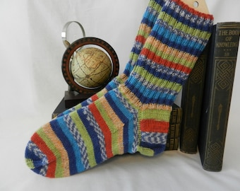 Men's wide foot Socks, Men's Wool Socks, Hand knitted Socks, US shoe size 10-13, Warm Socks, free domestic shipping