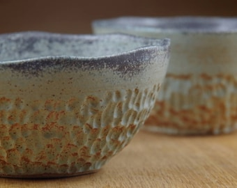 Set of Two Ceramic Bowls Handmade in Stoneware, Pottery Bowls, Cereal Bowls, Rice Bowls, Breakfast Bowls