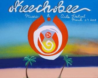 "16×20 ""Okeechobee"" original acrylic aerosol and oil painting"