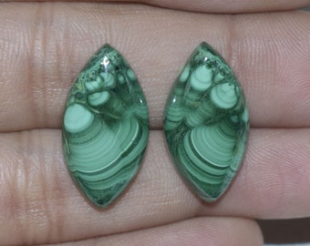 Natural Malachite Cabochon 23x12x4 MM Matching Pair Handmade Loose Gemstone Marquise Shape 25 Cts