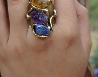 Brass Ring with Amethyst, Citrine and Blue Quartz
