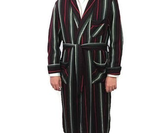 50s Men's Robe, Smoking Jacket, Belted Dressing Gown,  Red Black White, Long Lounge Robe, 1950s Playboy Robe, Hugh Hefner, Striped Robe