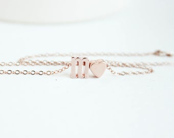 Rose Gold Letter Necklace, Lower Case Letter, Rose Gold Initial, Rose Gold Initial Necklace, Initial Jewelry