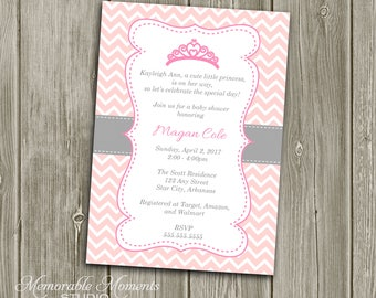 PRINTABLE INVITATIONS Chevron Princess Baby Shower or Birthday Invitation - Pink and Grey - Memorable Moments Studio