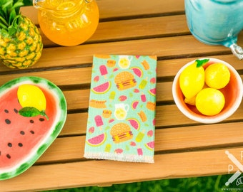 Miniature Summer Snacks Tea Towel - 1:12 Dollhouse Miniature