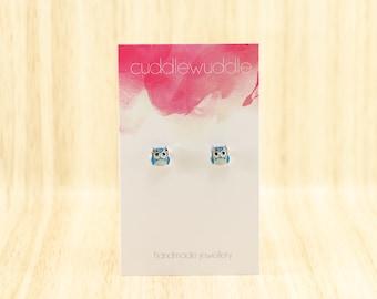 Cute Resin Small Blue Owl Stud Earrings