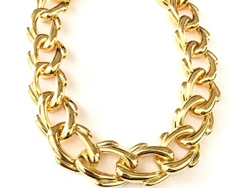 Vintage Modernist Link Organic Form Gold Chain Necklace