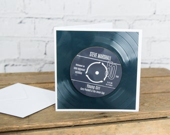 50th Birthday Greeting Card & Gift - Vinyl Record Coaster of Number 1 Single Day Born or Favourite Song