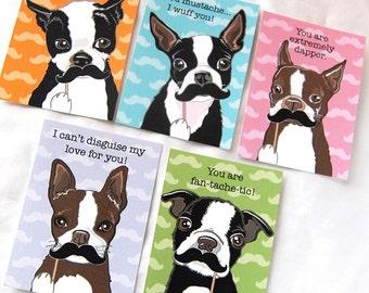 Boston Terrier Mustache Valentine Cards - Eco-friendly Set of 5