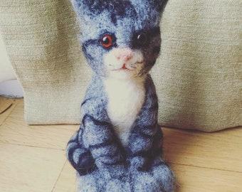 Needle felted grey tabby cat