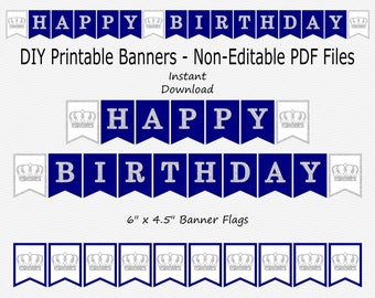 Happy Birthday Banner with Crowns - Navy Blue & Silver Sparkle - Royal Prince Boy - PRINTABLE - INSTANT DOWNLOAD