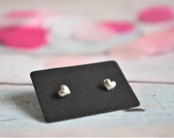 Heart Tiny Stud Earrings - Sterling silver simple jewelry love birthday gift for her