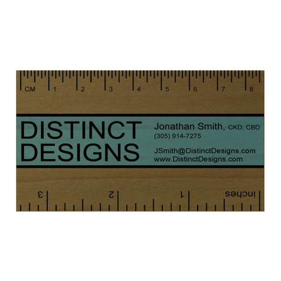Real wood business cards ruler for designer architect colourmoves
