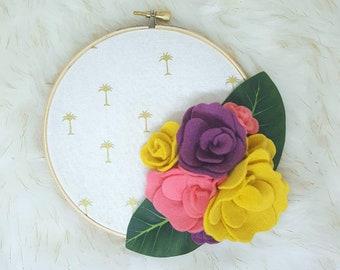 Summer hoop art, felt flower hoop art, summer wall art, summer decor, nursery decor, nursery wall art, palm tree hoop, flower hoop art