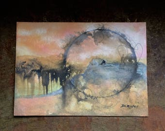 Waiting...Original Mixed Media Painting...unframed Free Shipping US Only.