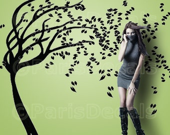 BLOWING WIND TREE - Vinyl Wall Art Decal