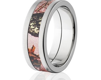 Pink Breakup Cross Brushed Finish, Camo Rings, Camo Wedding Bands: 8F-XB-PinkBU