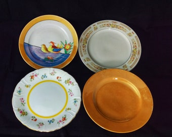 4 Vintage  Mismatched 7 inches Dishes (Apricot Collection)