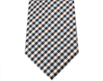 8cm Gingham Check Ties in Black, Blue and Yellow, Business width Ties