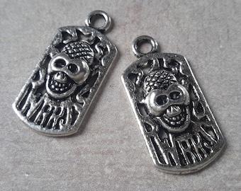 Skull pendants, charms skull skeleton skull head - silver - 26 x 12 mm