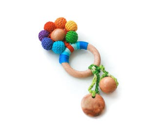 Educational rainbow  rattle toy/Wooden development toy/ Organic Baby Teething  toy / ECO-Friendly baby teether/ TOP1234