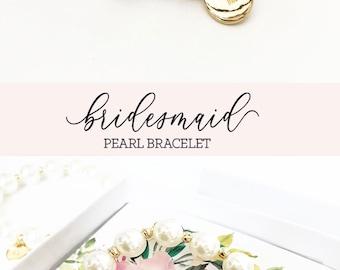Bridesmaid Bracelet Set of 6, 5, 8, 4, YOU CHOOSE - Monogram Bridesmaid Bracelet Pearl Bridesmaid Jewelry (EB3276M) Bridal Party Bracelet