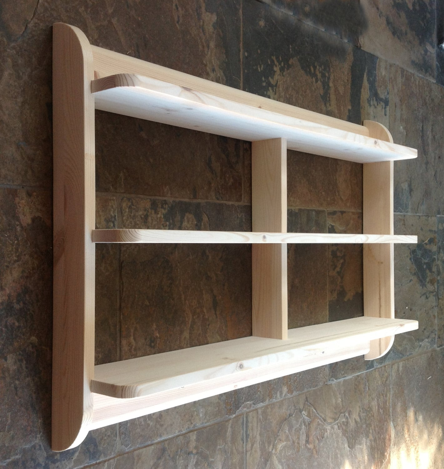 Shallow Open Pantry Shelves In Kitchen: Wide Wall Mounted Open Back Shelf Unit. Kitchen Shelves Or Dvd