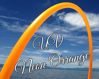 "UV Neon Orange Colored 3/4"" or 5/8""  PolyPro Hula Hoop - You pick the size - by Colorado Hula Hoops"