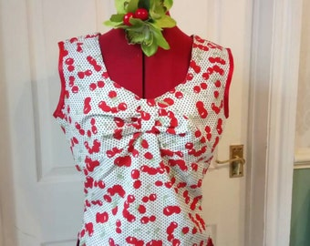Vintage Cherry oaklahoma top- size 8-10 -REDUCED