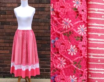 Vintage Carefree Fashions of Scottsdale, Arizona Vintage Skirt, Full Skirt, Retro Skirt, Pink Skirt, 1950s Style Skirt