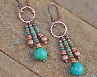 Turquoise Dangle Earrings, Boho Turquoise Jewelry, Boho Earrings, Southwestern Jewelry Earrings, Boho Dangle Earrings, Beaded Jewelry