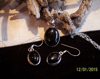 Black Agate and Sterling silver set.
