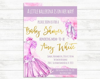 BABY SHOWER INVITATION, Ballerina Invite, Purple Pink Gold Ballerina, Tutu, Baby Shower Invitation Girl Baby Shower, It's a girl Tutu invite