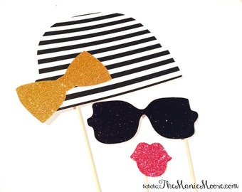 Glam Photo Booth Props - 3 piece set - Chic Black and White Striped Beanie with Gold Bow - Photobooth Props