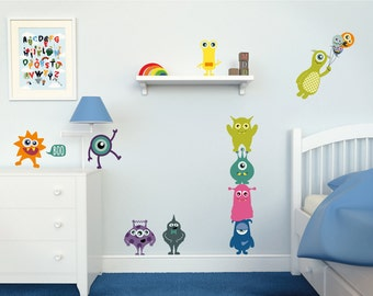 Monster Wall Decals // Monster Wall Stickers // Kids Room Decor // Kids Wall Decals // Kids Wall Stickers // Monster Stickers