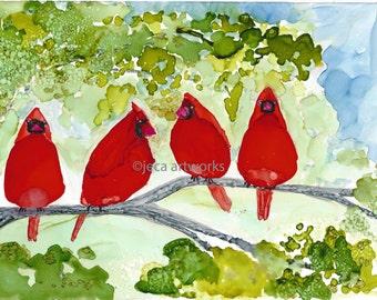 The Cardinals 5 x 7 Original Alcohol Art With 8 x 10 Mat