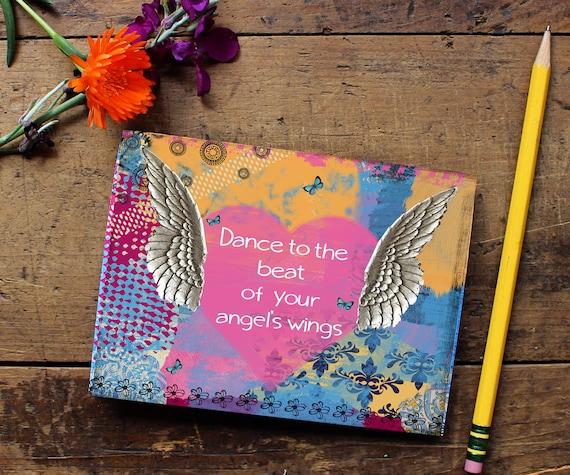 Angel Wing Journal -Handmade Notebook - Blank Journal - Quote Art Notebook  - Writing journal - Sketchbook