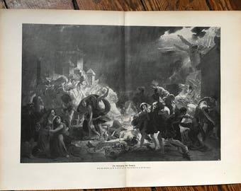c. 1900 VOLCANO VESUVIUS ERUPTING lithograph - original antique print - historical disaster in Pompeii, Italy