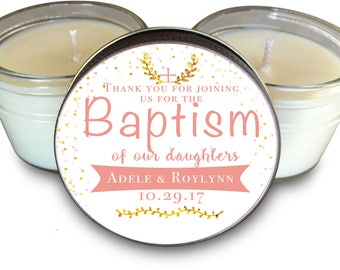 Set of (6) Baptism Favors, Dedication Favors and Christening Favors for Girls Set of 6 - 4 oz