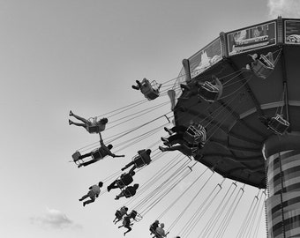 Chicago Art, Carnival Photography, Carnival Swing Ride Print, Black and White Photography, Summer Fun Wall Art, Summer Evenings