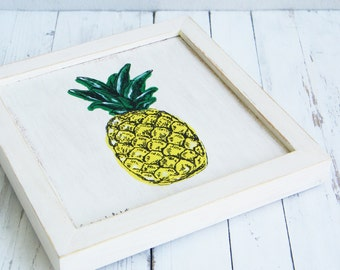 Pineapple Wall Art, Pineapple Print, Framed Picture, Pineapple Decor, Dorm Decor, Wood Signs, Tropical Print, Rustic Home Decor