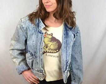 Vintage 80s Striped Batwing Acid Wash Cropped Denim Jacket